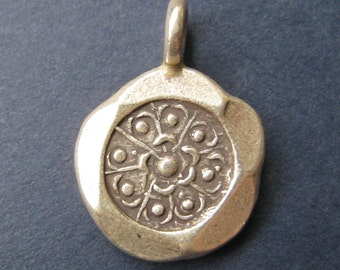 HT-39 Thai Hill Tribe Fine Silver Flower Charm