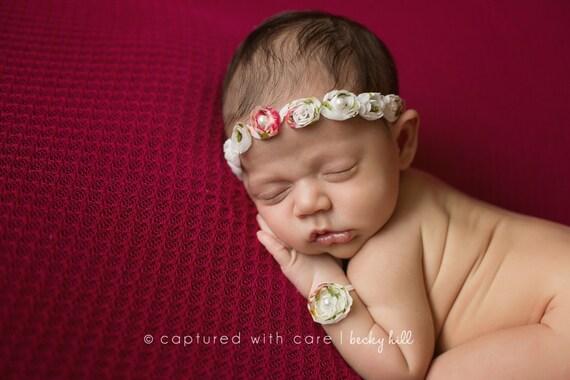 Baby Rose Tieback and Bracelet Set, Newborn Photo Prop, Baby Girl Beaded Headband and Bracelet Set, Newborn Rose Headband and Bracelet Set