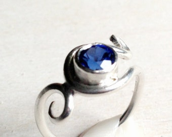 Sterling silver sapphire ring, Silver metalwork blue ring, Handcrafted sterling ring, September birthstone ring
