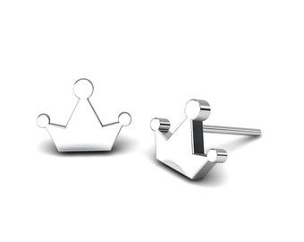 Crown shape sterling silver studs, Simple and Modern Flat silver crown Earrings, Bridesmaid, girls and kids's Gift, Unique Handmade Jewelry