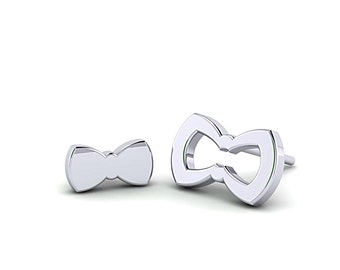 Asymmetrical Bow shape Silver studs, Flat silver Bow Studs, opened bow jewelry, handmade Tiny Bow earrings