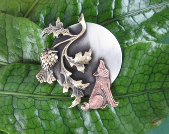 Wolf Brooch- Wolf Jewelry- Howling Wolf- Howl at the Moon- mixed metal jewelry