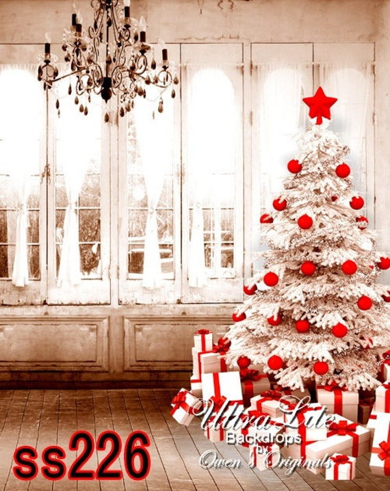 Photography Backdrop Christmas White Tree Red Decorations