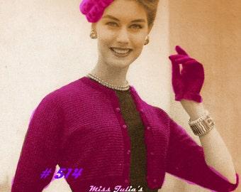 Almost FREE Vintage Sophisticate Stripes Bolero 514 PDF Digital Knit Pattern