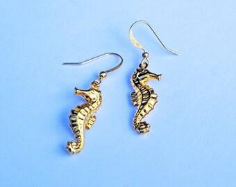 Seahorse Earrings, Little Gold Seahorse Earrings, Nautical Earrings, Little Seahorse Earrings