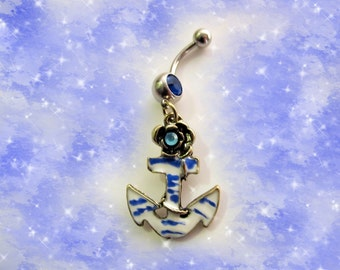 SALE-Belly Ring, Nautical Ship Blue and White Navy Boat Anchor with Blue Crystal, Belly Button Jewelry, For Women and Teens