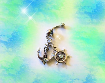 SALE-Belly Ring, Tibetan Silver Nautical Ship Anchor And Stern Wheel with Sea Crystals, Belly Button Jewelry, For women or Teens