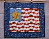 American Flag Patriotic Wallhanging  Quilt Folk Art USA I Pledge Allegiance