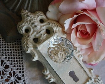 IVORY  Ornate Vintage Look Decorative Cast Iron Door Plate with Glass Look Knob / Wall Hook