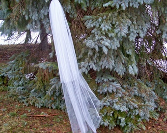 2 Tier Pencil Edge Waltz Length Wedding Veil Crystals