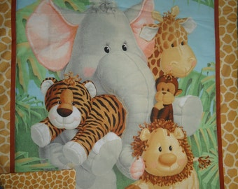 nwt Jungle babies theme baby quilted blanket