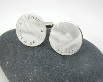 Father of the Bride Groom Cuff Links - Wedding Anniversary Father Gift Personalized Cuff Links Custom Cufflinks Wedding Date Cuff Links