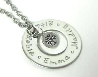 Personalized Mother's Day Tree of Life Necklace  - Custom Name Mommy Necklace