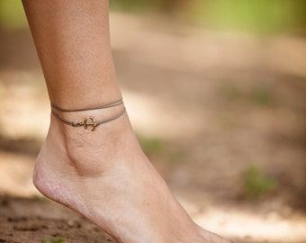 Anklet for her, anchor anklet, brown wrap anklet, bronze charm, brown ankle bracelet, gift for her, nautical minimalist jewelry, small ankle