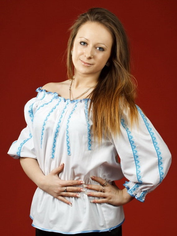 Vyshyvanka Ukrainian embroidered women's blouse. Ethnic sorochka Ukrainian vyshyvanka. Ukrainian national clothes.Size XS - 4XL, 100% cotton