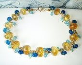 RESERVED FOR DAFNA Citrine & apatite bracelet, gold jewelry
