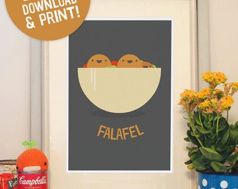 Print it yourself: Falafel Poster A3 wall decor for street food lovers – a perfect gift for Israel, Jerusalem and the Middle East lovers!