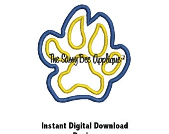 DD Cougar Panther Tiger Leopard Cat PAW Applique - Machine Embroidery Design - 2 Sizes - Instant Download