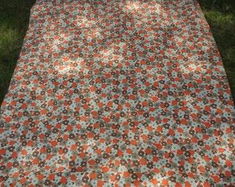 Vintage Heavy Cotton Floral Fabric Textile Wild Flowers Orange Brown Lime Green Beige