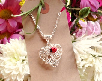 "Cute Miniature Ladybird Ladybug Woven onto Heart Pendant - Necklace 16"""