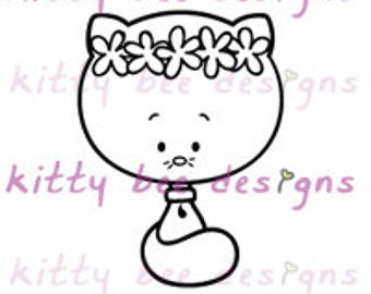 Haku Flower Kitty Bee Digi Stamp