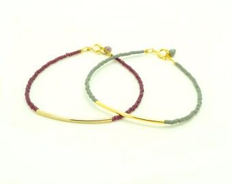 Beaded Bracelet - Bar Bracelet - Seed Bead Bracelet - Friendship Bracelet - Bangle Bracelet - Burgundy Bracelet - Gray Bracelet