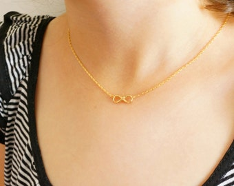 Gold Infinity Necklace w/ Mint Pendant - Delicate Gold Eternity Necklace (also in Silver) - Bridesmaid Jewelry - Best Friend Necklace