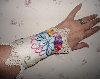 Up cycled Vintage linen hand embroidered fabric cuff bracelet with vintage hand crocheted edging
