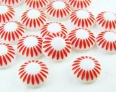 Vintage Plastic Cherry Red and White Sunburst Flower 8mm Cabochons - 10