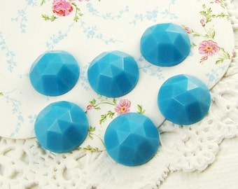 Vintage Opaque Sky Blue Faceted Glass Cabochons Jewels 11mm (6)