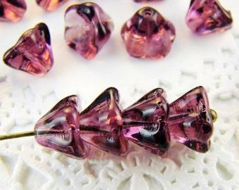 Czech Glass Amethyst Purple Bell Flower Beads 8x6mm - 25