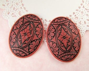 Vintage Dark Rose Pink Victorian Carved Mosaic Cabochons 40x30mm Oval