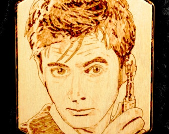 Doctor Who woodburned portrait plaque - David Tennant