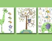 Elephant Nursery Baby Boy Nursery Decor Children Art Print Baby Nursery Print set of 3 11x14 Alphabet Nursery Alphabet Green Giraffe Nursery