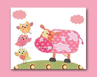 Baby Girl Wall Art Baby Girl Nursery Childrens Print Cow Nursery Decor Owls Nursery Art Print baby art cow owl decor pink rose green