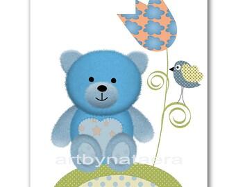 Baby Boy Wall Art Kids room decor blue Kids Wall Art kids art print Baby Boy Nursery Baby Boy Room Decor Print bear baby art