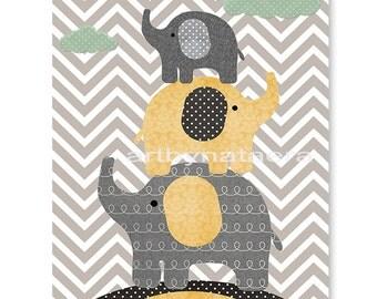 Kids Art Nursery Art Print Childrens Wall Art Baby Boy Nursery Art Kids Print Nursery Decor Boy Baby Wall Art Elephants Yellow Grey