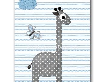 Baby Shower Gift Giraffe Nursery Baby Boy Nursery Decor Baby Nursery Prints Children Art Print Nursery Print Boy Art Giraffe Gray Blue
