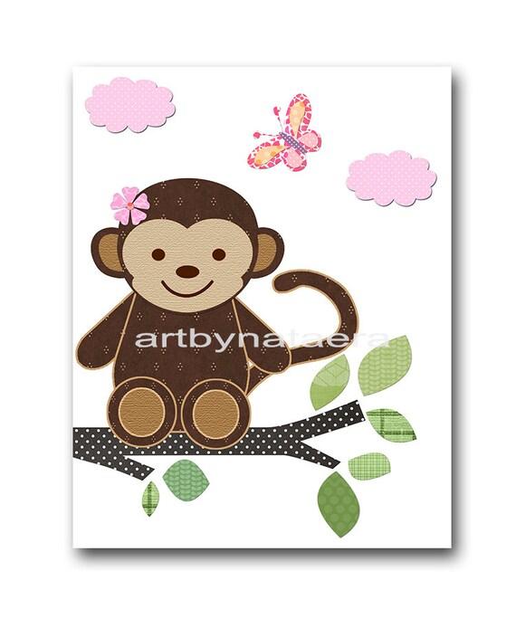 Girl Monkey Nursery Wall Decor : Monkey nursery decor baby girl art print by