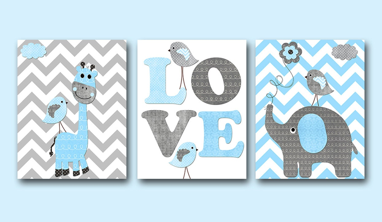 Elephant Giraffe Baby Boy Nursery Art Print Childrens Wall Art