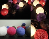 20 Big Cotton Balls Chocolate-Pink Color Tone Fairy String Lights Party Patio Wedding Floor Table or Hanging Gift Home Decor Christmas