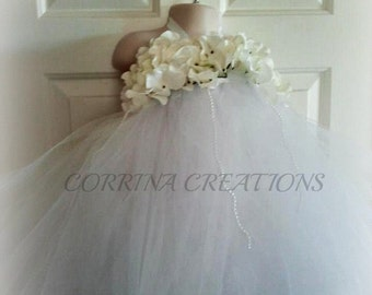 Flower Girl, Wedding, Bridesmaid Couture OTT Tutu Dress, Pearls and Elegance