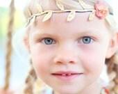 Gold leaf wool felt flower hippie headband baby-toddler-child