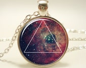 Galaxy Triangle Necklace, Hipster Nebula Jewelry, Geometric Star Pendant (1589S1IN)
