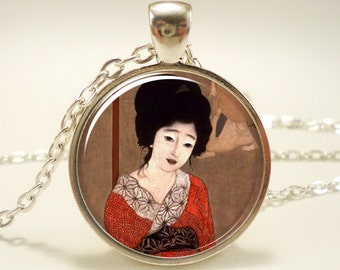 Geisha Girl Necklace, Asian Japanese Theme Jewelry (1439S1IN)