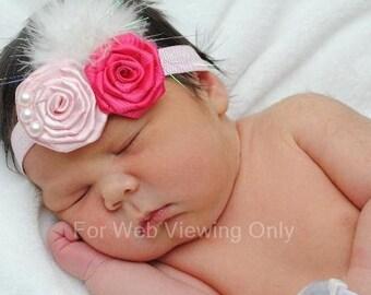 baby headband foe elastic rose rosettes headband photo prop newborn headband  rosette headband rose pink headband feather headband