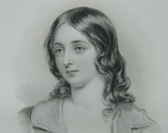 Victorian woman portrait, Steel engraving, Victorian beauty, Young lady Jessie by J Fisher Victorian woman, Dark haired girl