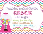 Printable Invitation- Gumball Party Collection