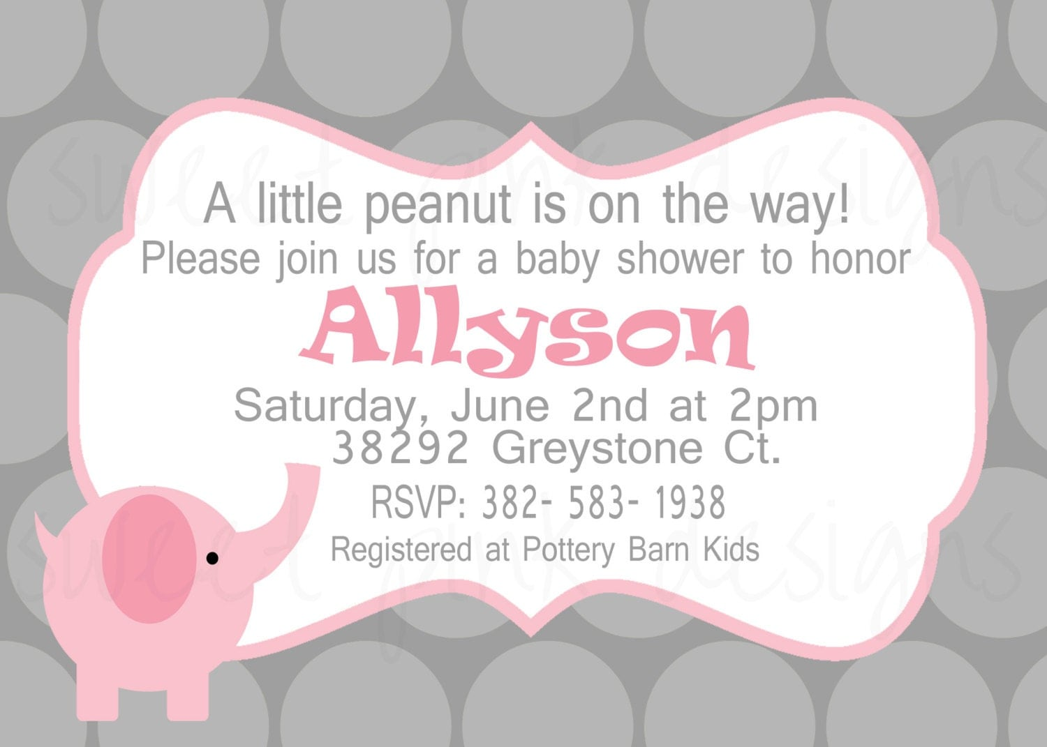 elephant baby shower invitation by sweetpinkdesigns on etsy