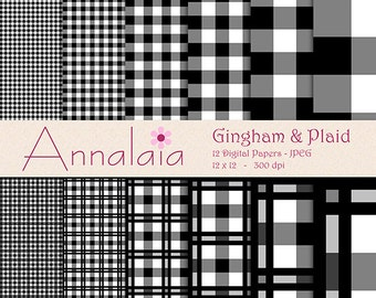 INSTANT DOWNLOAD Digital Paper Pack Black and White Gingham Plaid Checks Squares 12x12 8,5x11 Scrapbook Paper 311